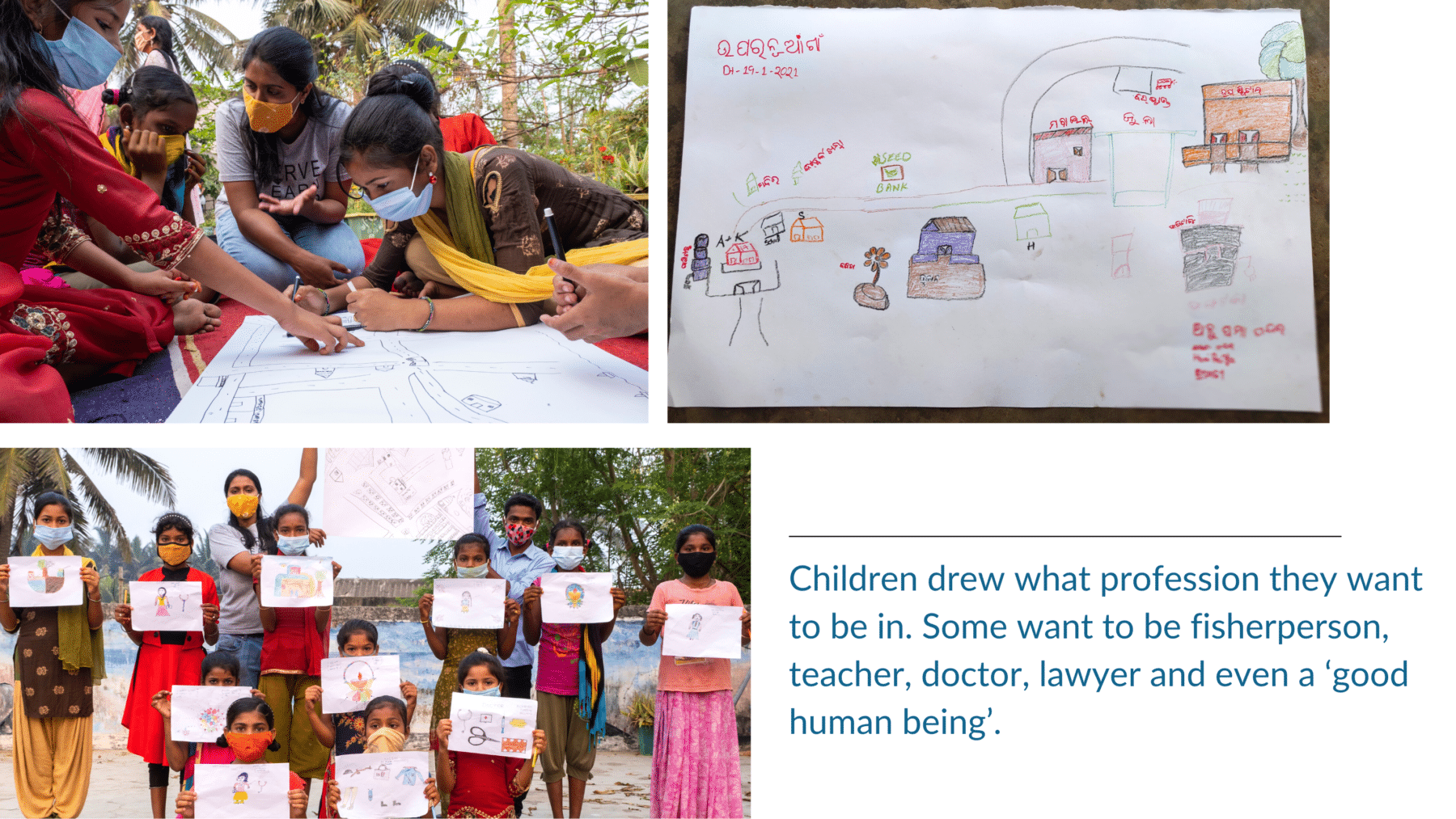 Children drew what profession they want to be in. Some want to be fisherperson, teacher, doctor, lawyer, and even a good human being.