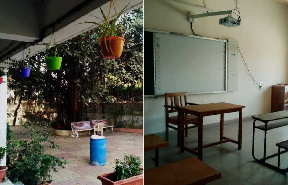 Left image: the school courtyard with trees, plants, and sitting area for the kids. Right image: the classroom with a whiteboard and projector, desks and chairs.