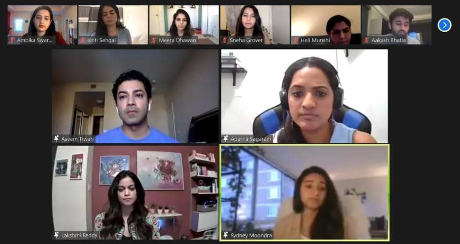 Screenshot of the panelists and attendees of the Zoom session.