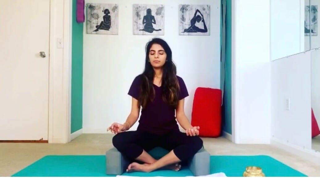 Meera Dhawan in a yoga pose.