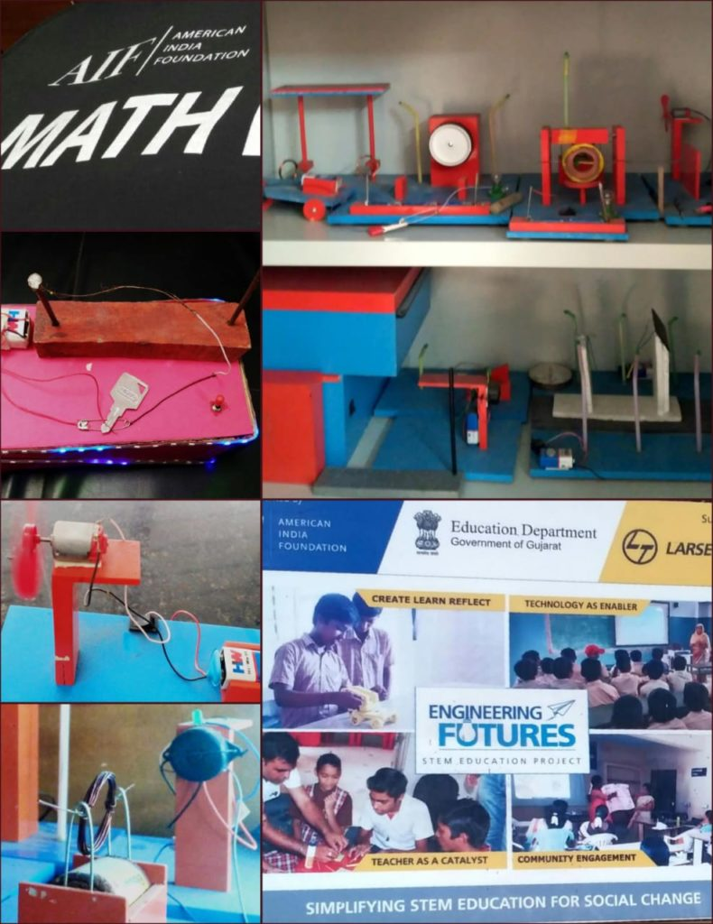 Collage of science experimentation stations for students from the DE program, among them batteries and semiconductor stations. A banner focusing on math and engineering futures, reading: simplifying STEM education for social change.