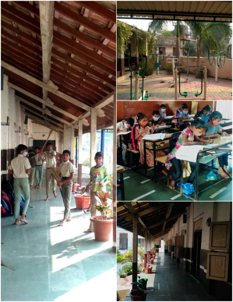 Collage showing students during classroom break, studying in class, and an outdoor area with physical exercise and play stations, as well as the hallway lined with potted plants.
