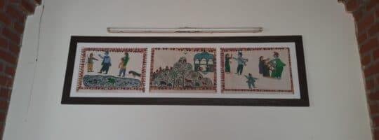 Part of a series of artwork depicting the indigenous version of Mahabharata in the Vaacha Museum of Voice, Tejgadh. Source: Sneharshi Dasgupta