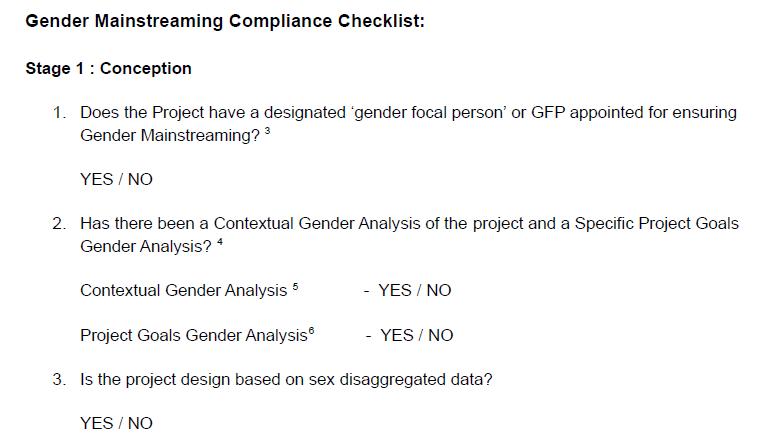 Gender Mainstreaming Compliance Checklist