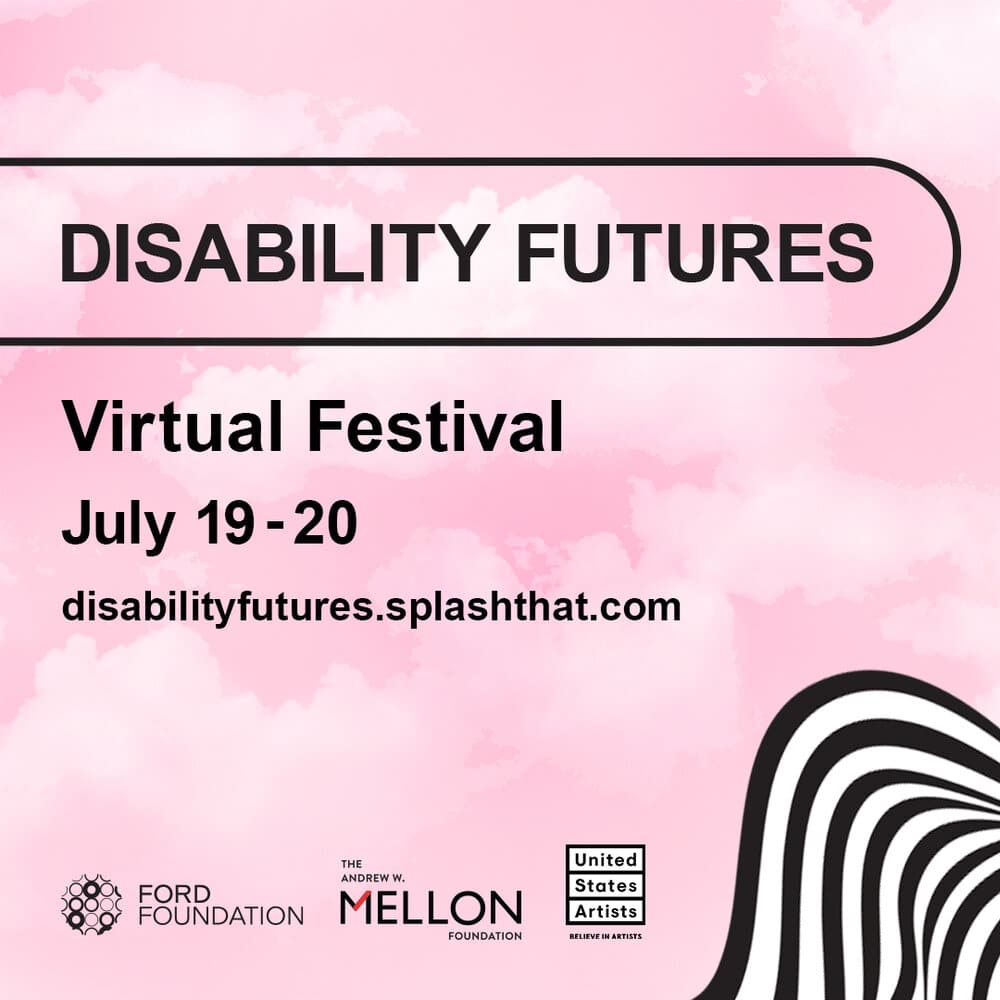 Disability Futures Facebook banner. Pink clouds in the background. Logos of the organizers.