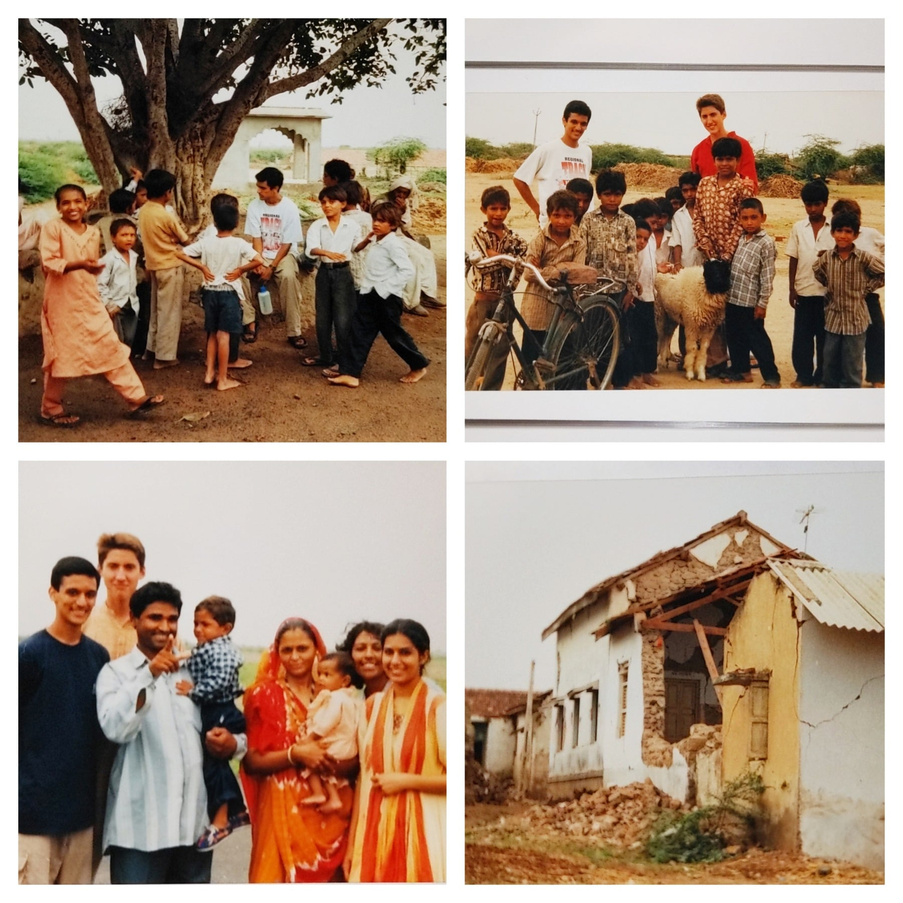 Collage of four photos. Upper left: Sachin and a group of village boys gathering around a tree outside. Upper right: Sachin and his co-Fellow standing with a group of boys and farm animals. Lower left: Sachin with a group of women in saris and a man holding a child in his arms, all smiling for the camera. Lower right: house with the back wall crumbled in.