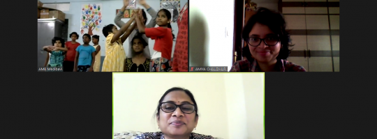 A screenshot of a Zoom theatre session with children from a shelter home.