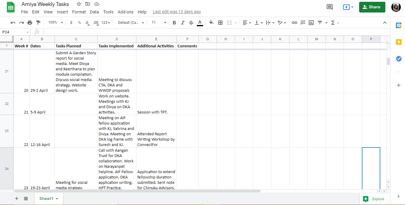 An Excel sheet tracking my weekly tasks during the fellowship.