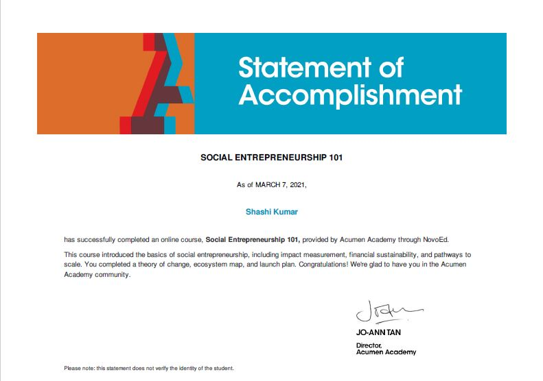Certificate of Accomplishment for the Social Entrepreneurship course by Acumen Academy and NavoEd.