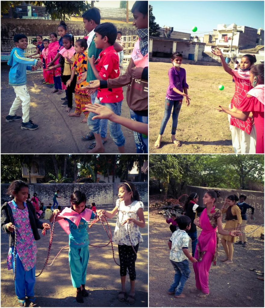 Children participating in physical education activities such as group skipping and juggling.