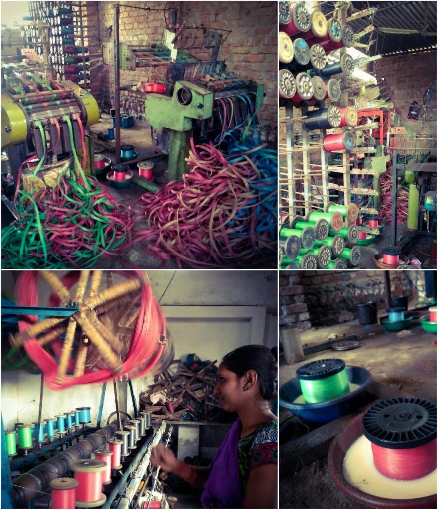 Process of making Nawar plastic Patti at a local workshop in Bhavnagar