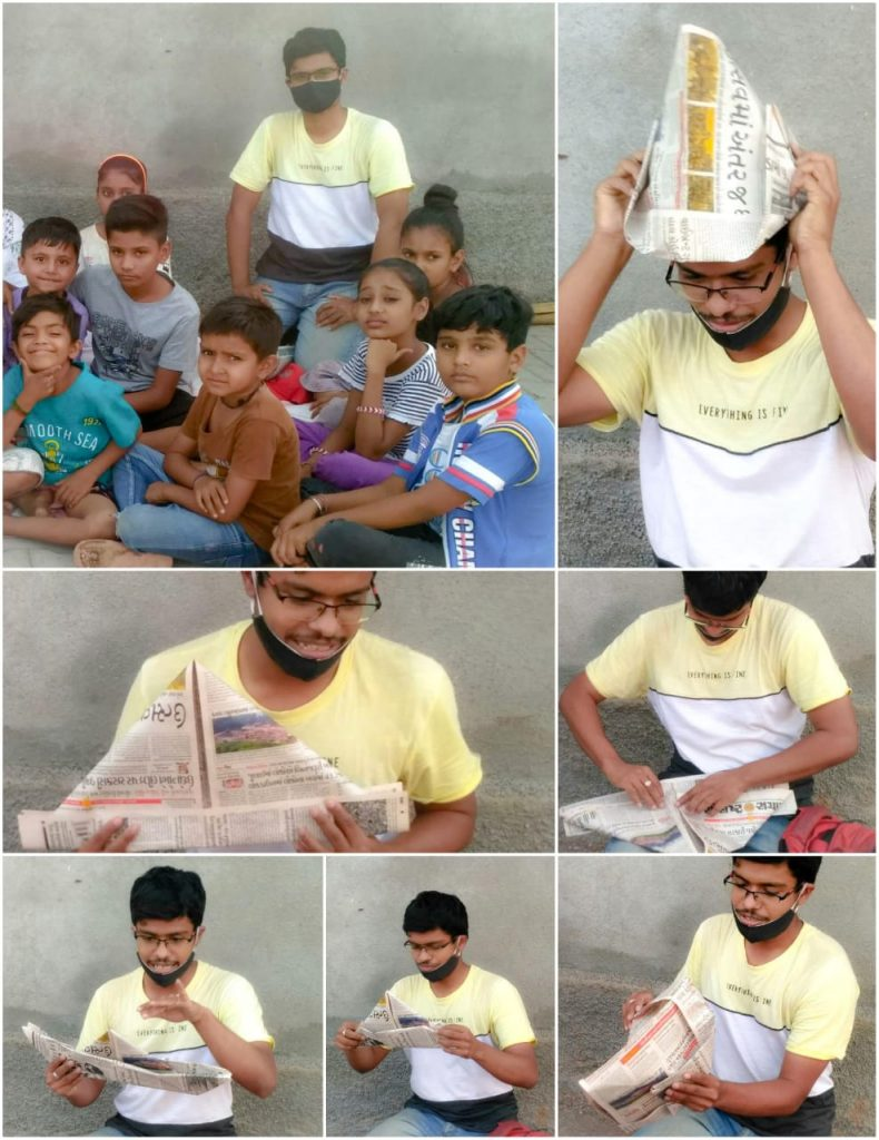 A display on how to make different sizes of paper hats from one newspaper